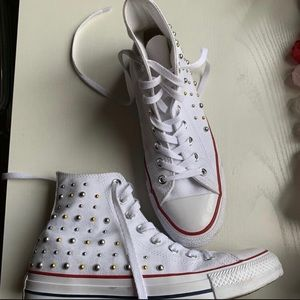 Converse high top studded canvas sneakers